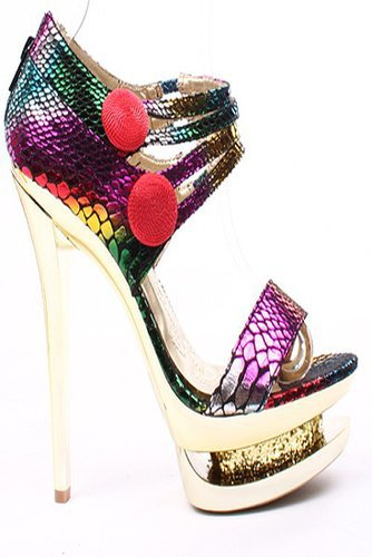 MULTI-COLOR SNAKE EMBOSSED DOUBLE PLATFORM HEELS