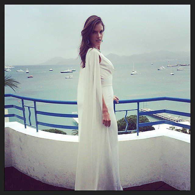 Alessandra Ambrosio got glamorous on a balcony. Source: Instagram user alessandraambrosio