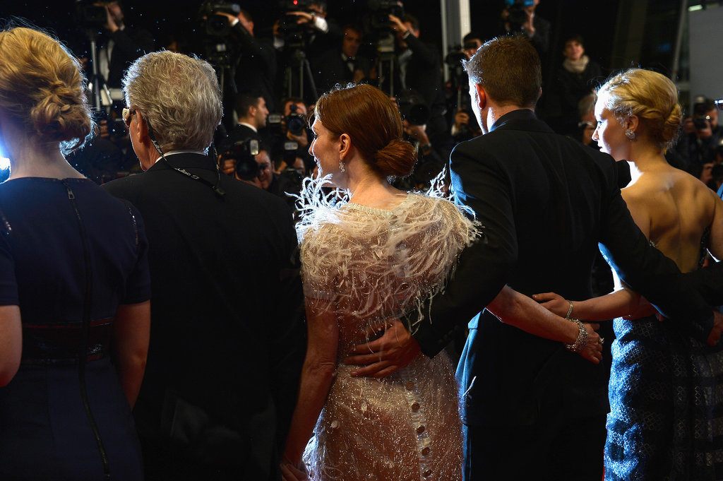 Mia Wasikowska, David Cronenberg, Julianne Moore, Robert Pattinson, and Sarah Gadon stuck together at the premiere of their movie Maps to the Stars.
