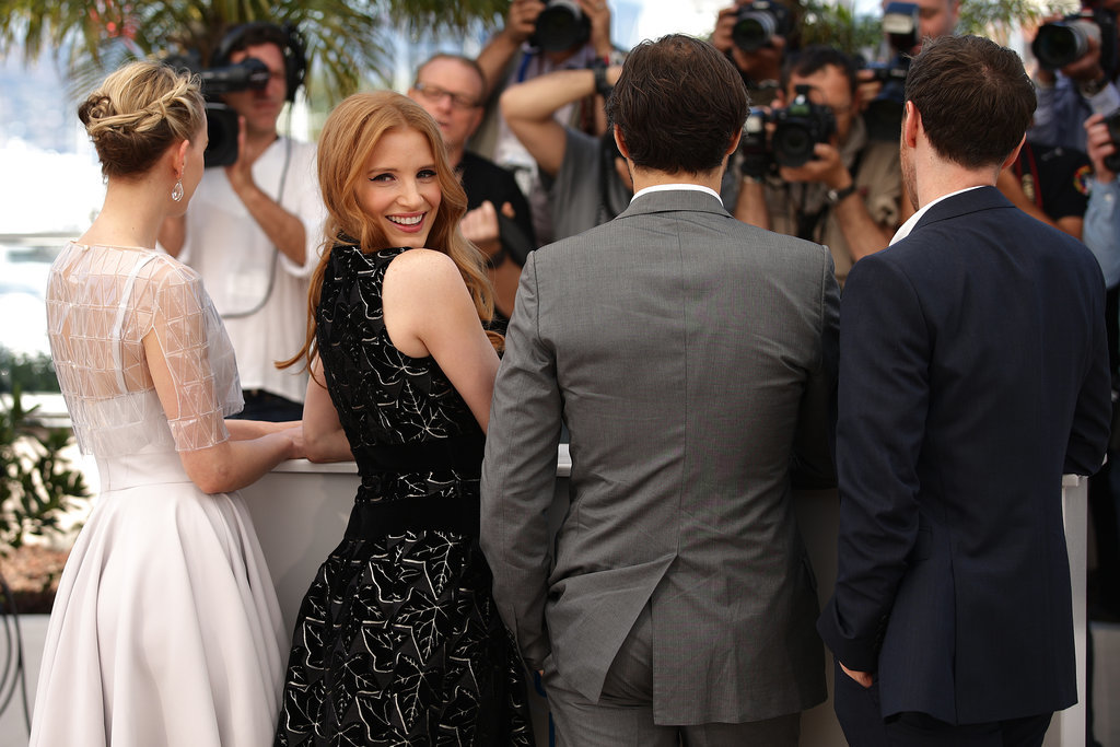 Jessica Chastain struck a pose with her costars James McAvoy, Ned Benson, and Jess Weixler at the photocall for their film The Disappearance of Eleanor Rigby.