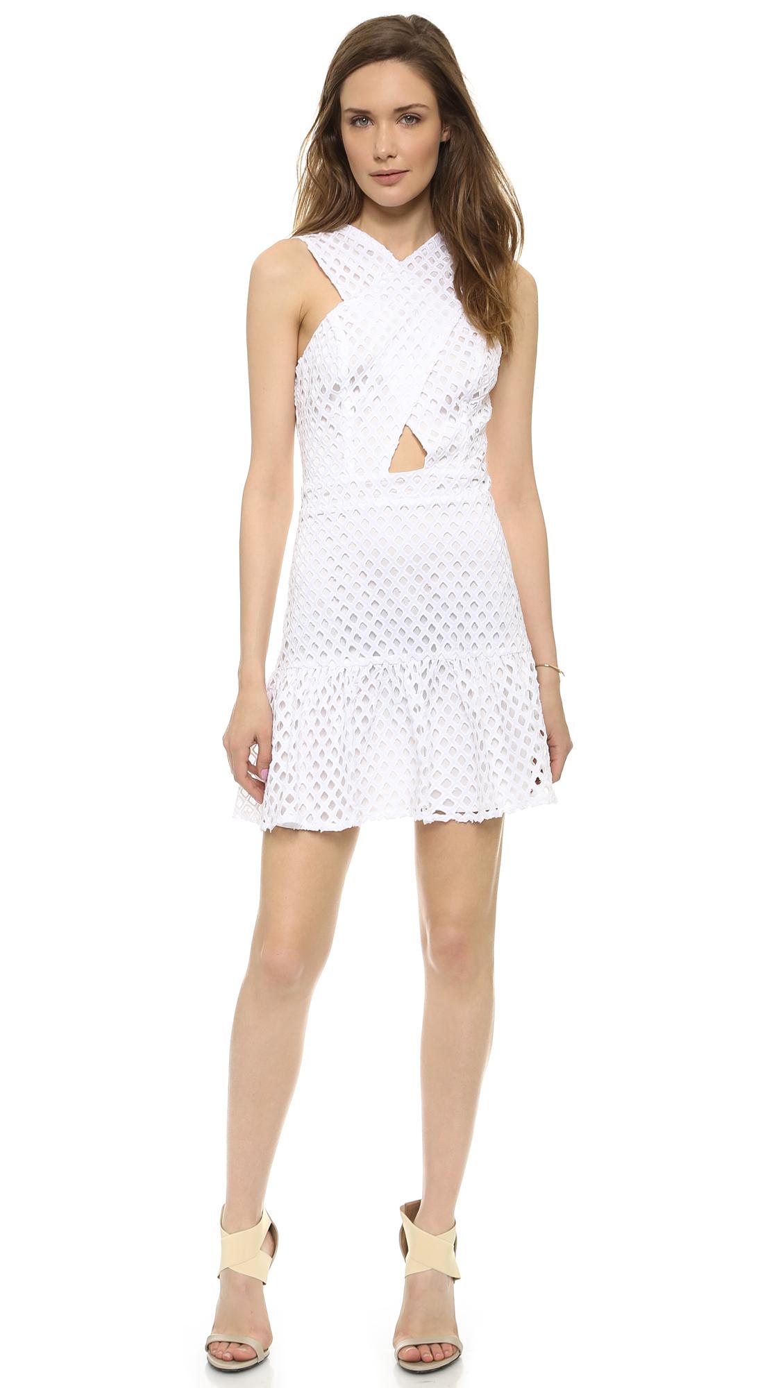 Line & Dot Eyelet White Dress