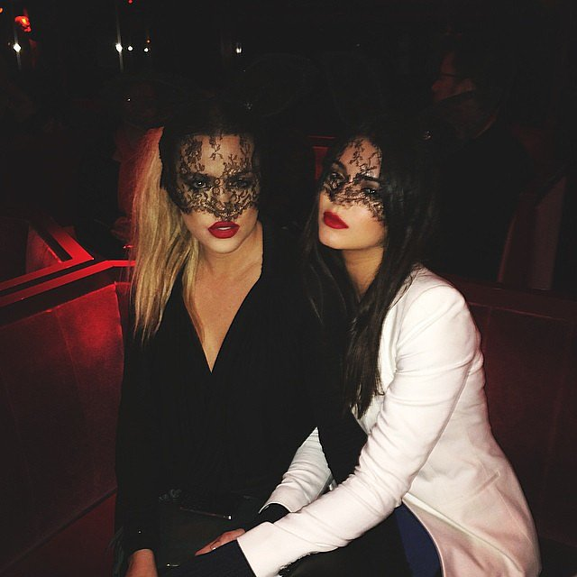 Khloé and Kendall wore lace masks.  Source: Instagram user kendalljenner