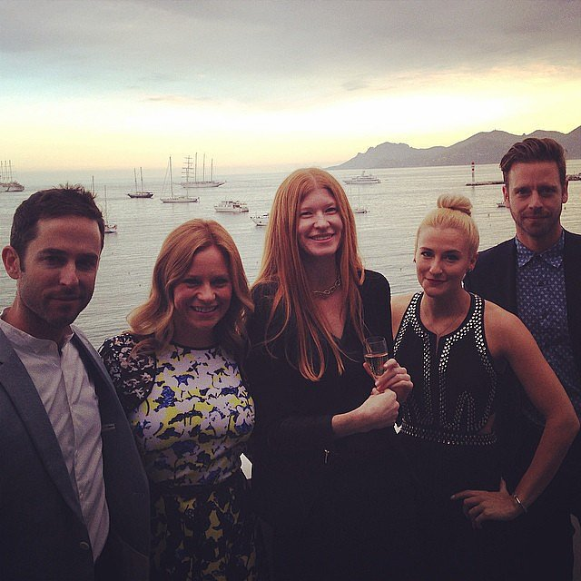 Our team stopped by a party for Jessica Chastain and James McAvoy's movie The Disappearance of Eleanor Rigby and took a Cannes class photo. From left: production assistant Matt Dickinson, POPSUGAR Now LA anchor Becca Frucht, supervising producer Carla Hawkes, entertainment editor Lindsay Miller, and director of photography Thomas Beckner.