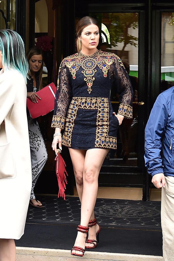 Khloé wore an interesting dress.