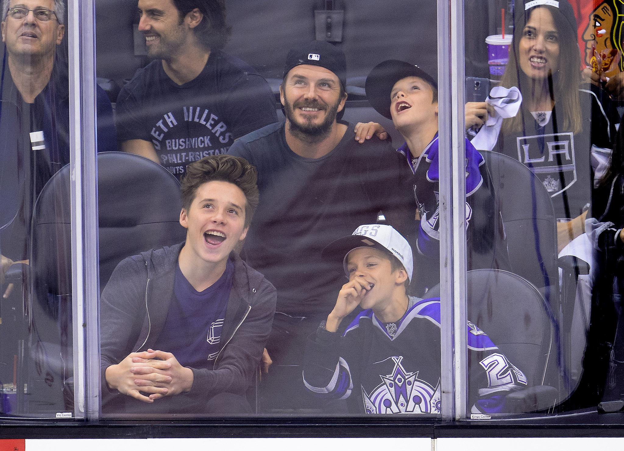 David Beckham brought his boys — Brooklyn, Romeo, and Cruz — to the LA Kings hockey game on Saturday.