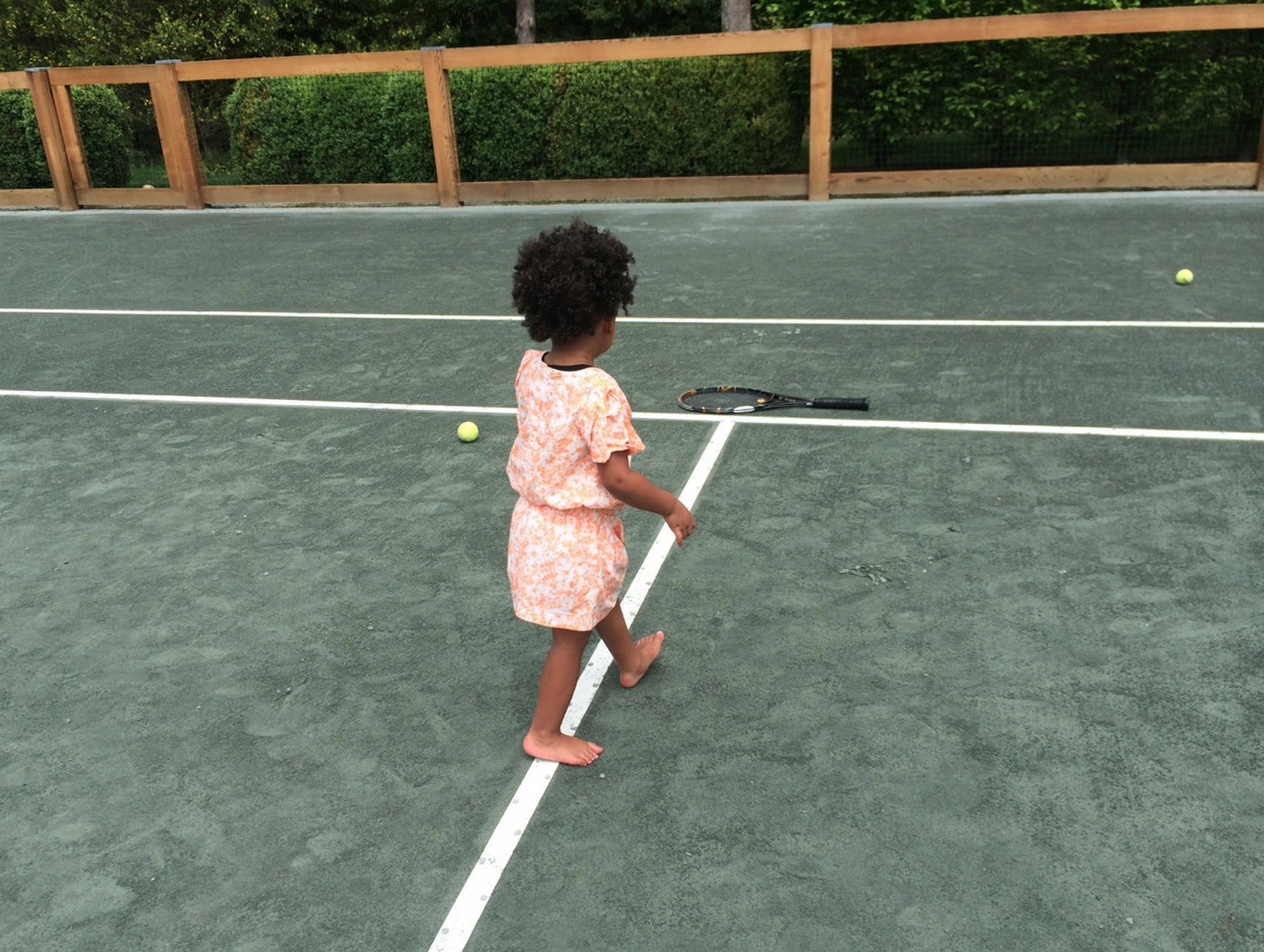 Blue tried her hand at tennis.  Source: Beyonce.com
