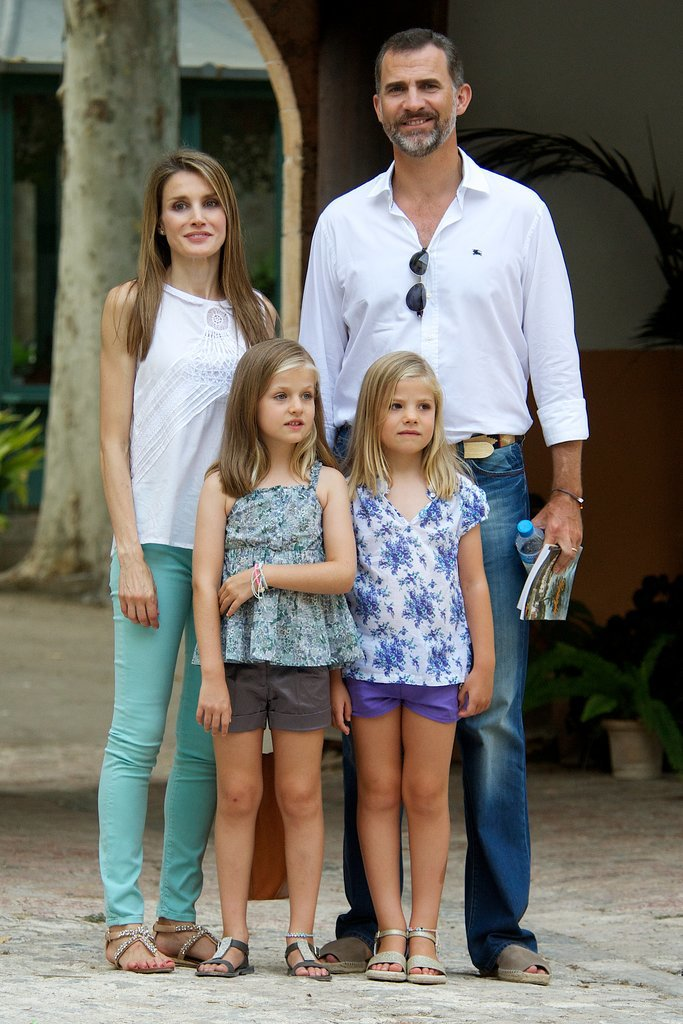 Letizia and Felipe brought their daughters on a Summer trip to Palma de Mallorca, Spain, in August 2013.
