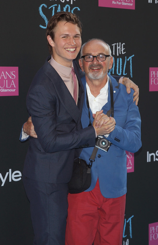 Ansel Elgort hugged and held hands with his dad, Arthur Elgort.