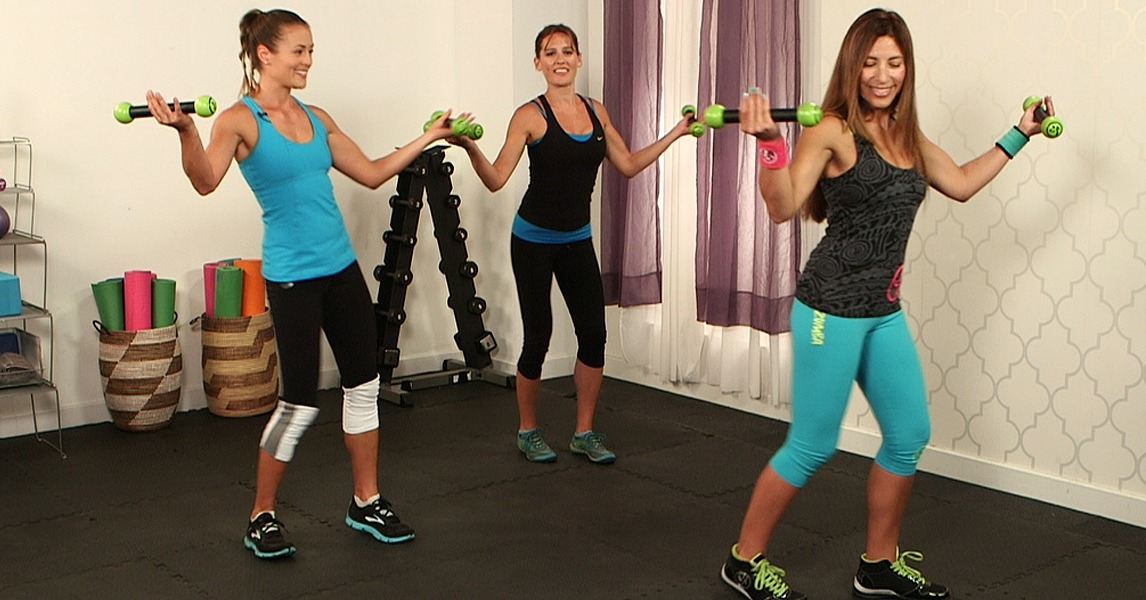 Zumba toning full body workout video popsugar fitness for Living room zumba