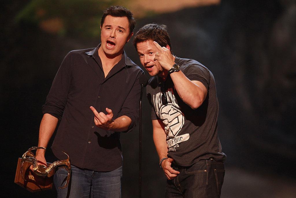 Seth MacFarlane and Mark Wahlberg flipped the bird in 2013.