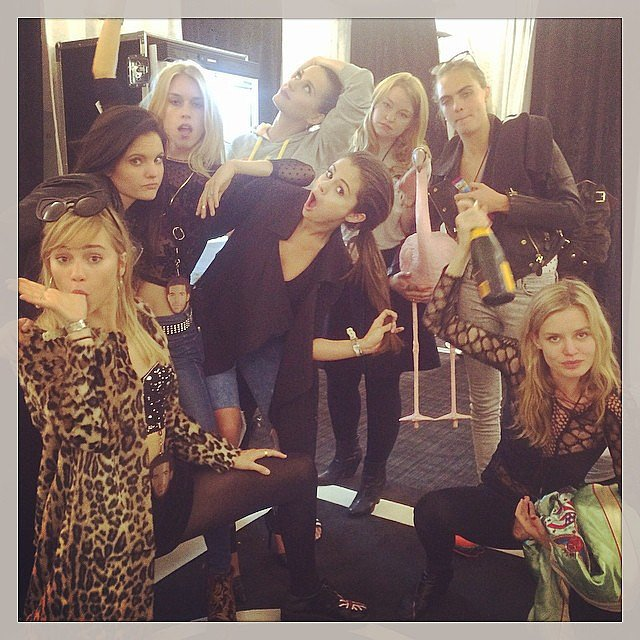 Selena Gomez, Cara Delevingne, Suki Waterhouse, Georgia May Jagger, and Mary Charter hung out with Katy Perry backstage at her show. Source: Instagram user katyperry