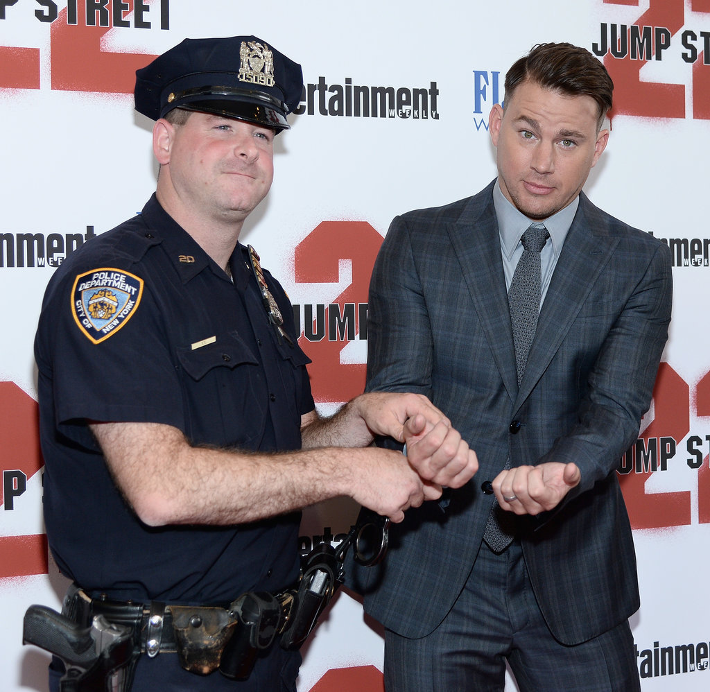 """Channing Tatum was """"arrested"""" at the 22 Jump Street premiere in NYC on Wednesday."""