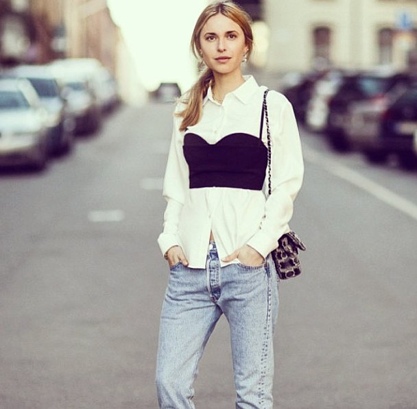 Experiment with cropped tops just by slipping them over your button-downs or t-shirts. How easy — and chic — is that? Source: Instagram user lookdepernille