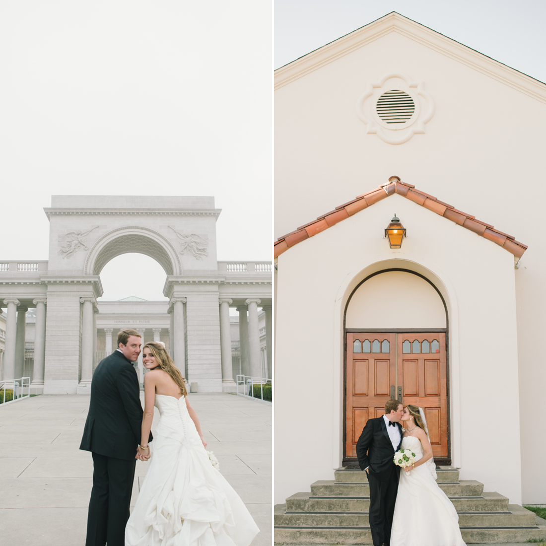 "How did you decide on your theme and location? ""When it came time to choose a city, San Francisco was an easy choice for me. Fisherman's Wharf was perfect for that iconic San Francisco feel of clam chowder in bread bowls, sea lions at Pier 39, and great views of the bay. Fort Mason was a bit more old world with views of the Golden Gate, and the chapel was the perfect size to fit our guests. It was sunny that afternoon in the Marina, and the venue being near the water was perfect. I had always wanted our reception to be at the Legion of Honor from the moment we got engaged. It reminded me of the museums in DC we spent time visiting while we were dating. We had a bus take guest from Fort Mason on a drive along the coast to the Legion, and when we arrived, in true San Francisco style, it was covered in fog."" Photos by Delbarr Moradi Photography"
