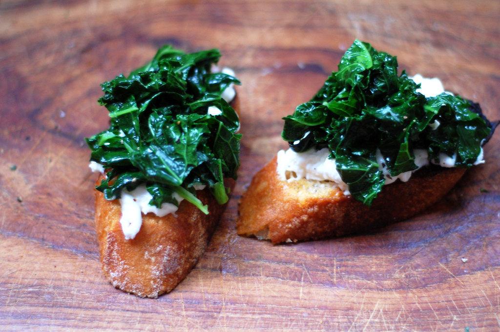 Sautéed Kale and Burrata Bruschetta