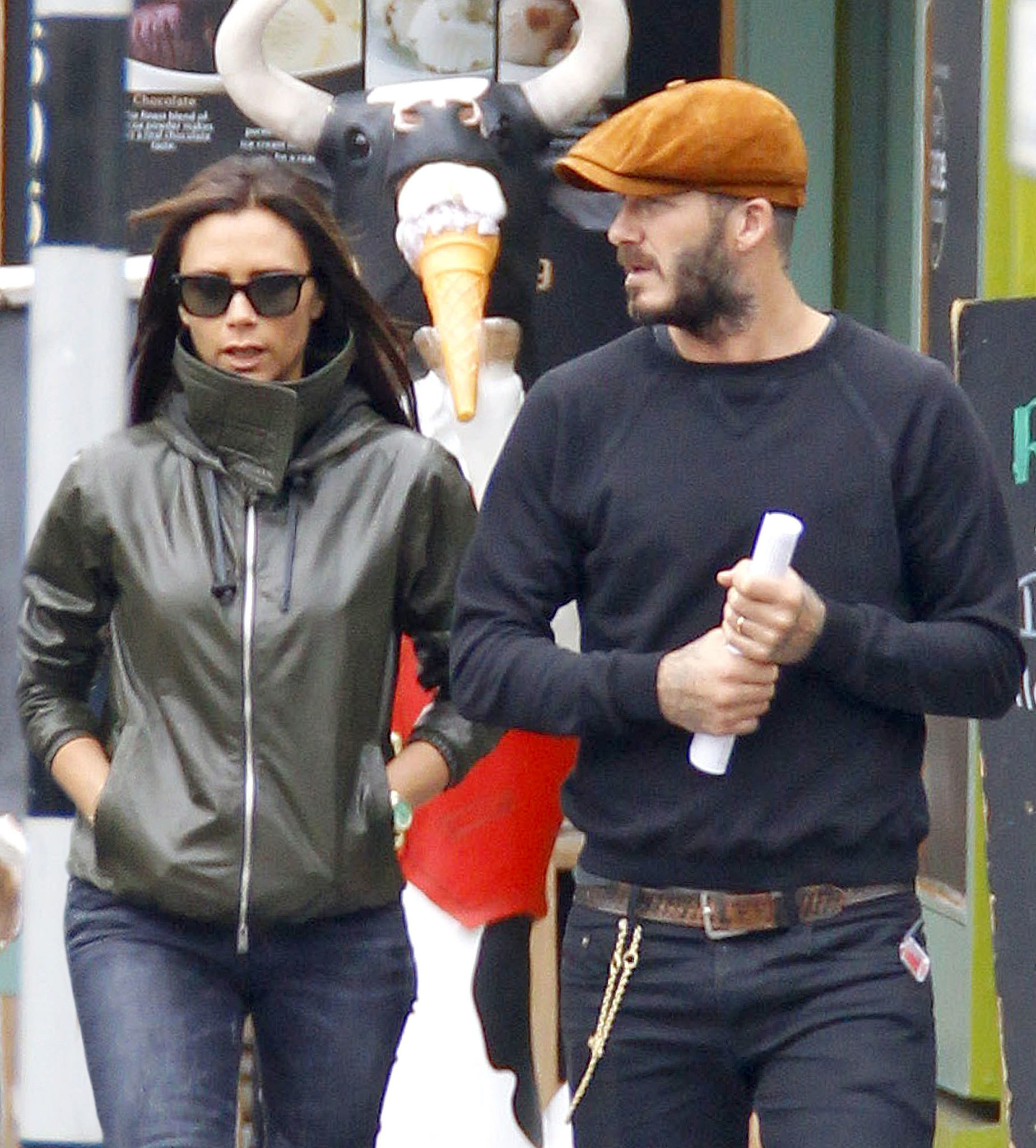Victoria and David Beckham stepped out looking incognito in London on Monday.