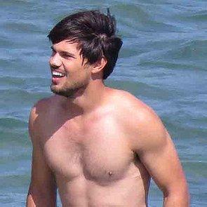 Taylor Lautner Shirtless on Set in LA