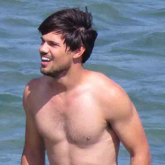 Taylor Lautner Shirtless on Set in LA
