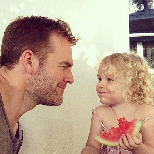 James Van Der Beek chowed down on watermelon with his daughter, Olivia, on Father's Day. Source: Instagram user vanderjames