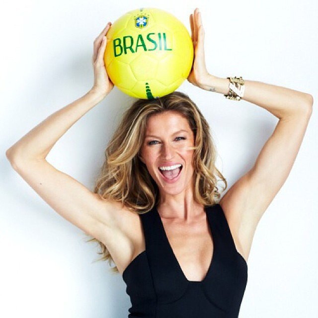 Gisele Bündchen posed with a Brazilian soccer ball. Source: Instagram user giseleofficial
