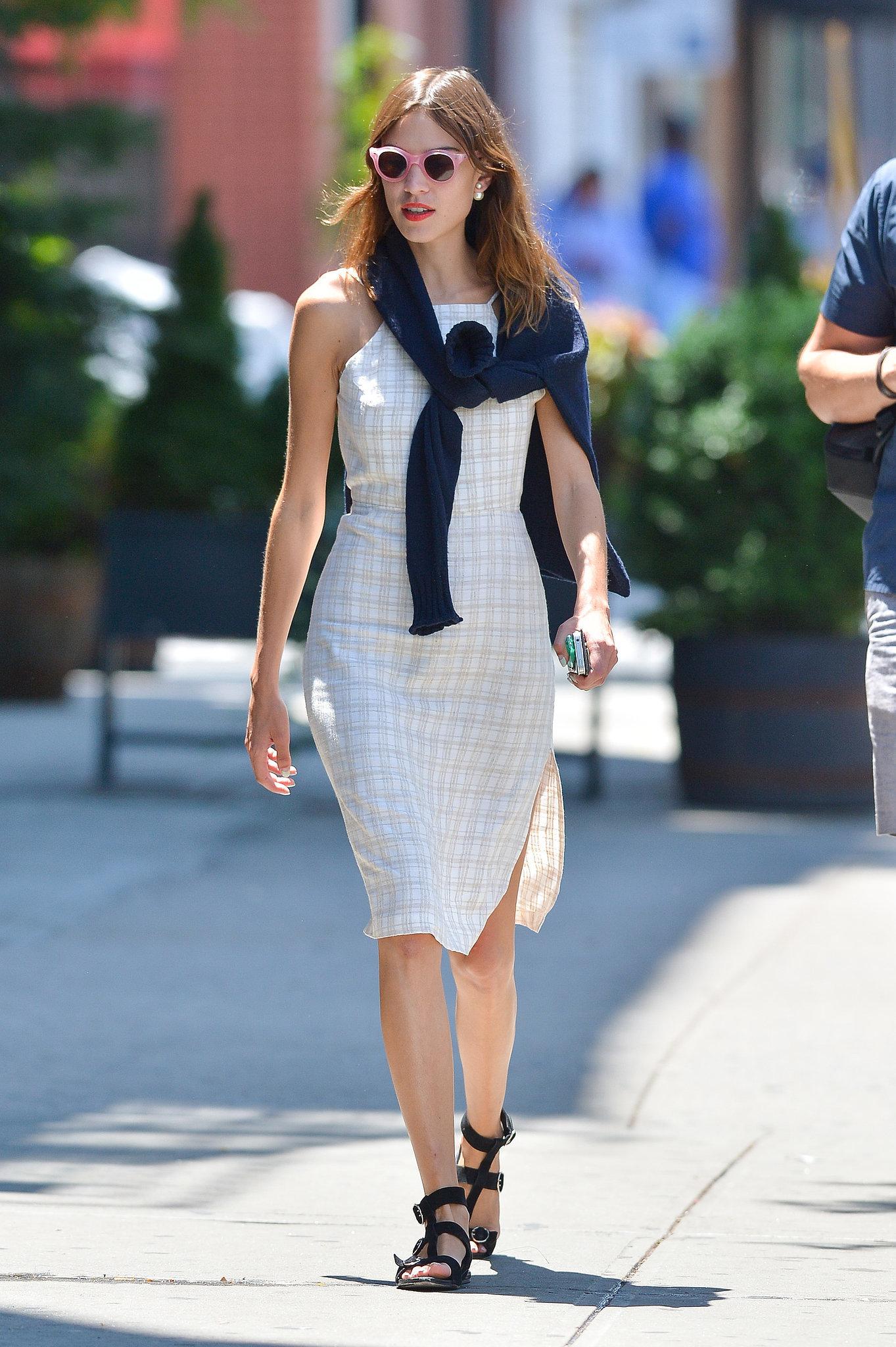 Alexa Chung Warms Up Her Neutral Dress