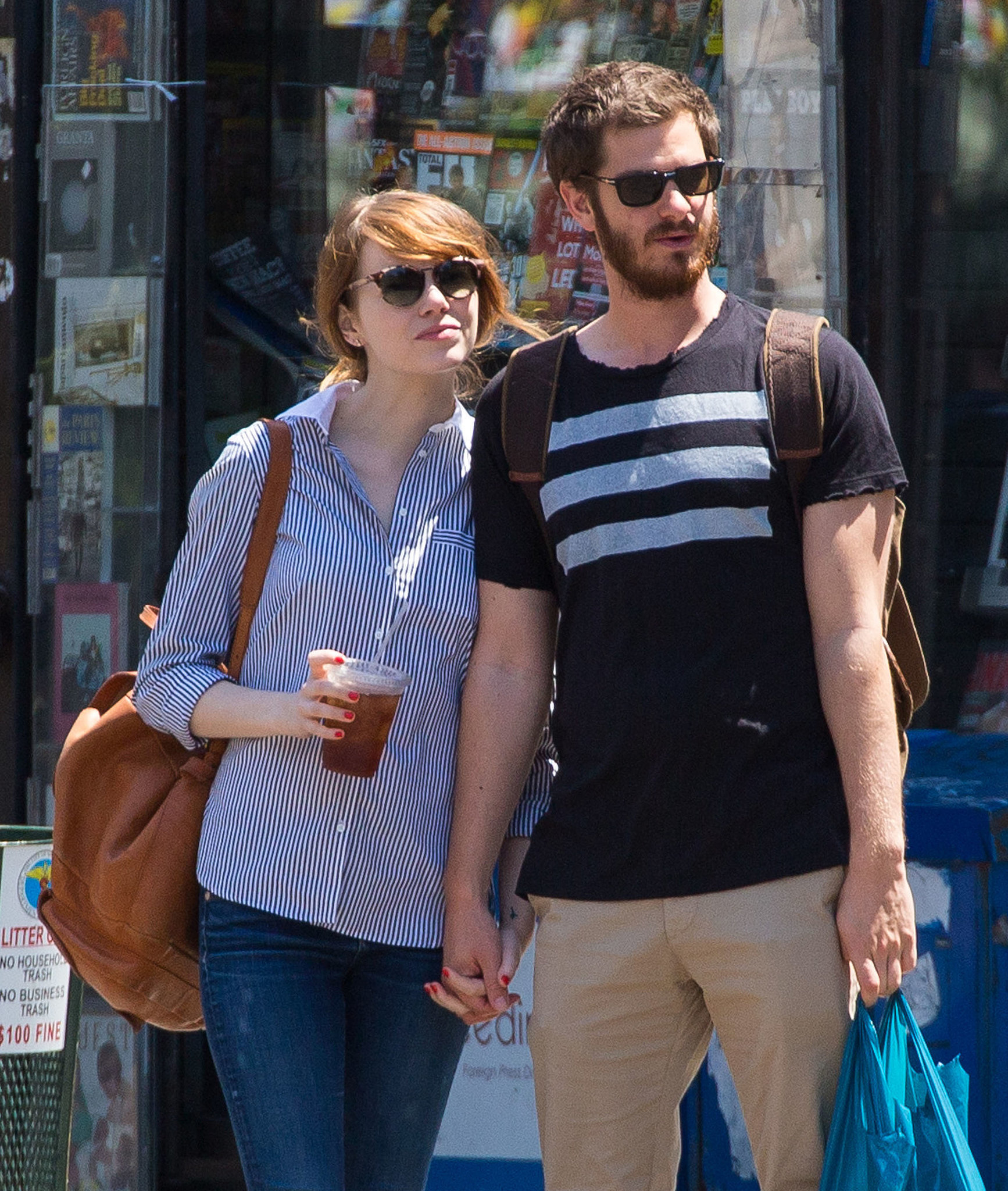 Emma Stone and Andrew Garfield held hands while leaving a bookstore together in NYC on Monday.