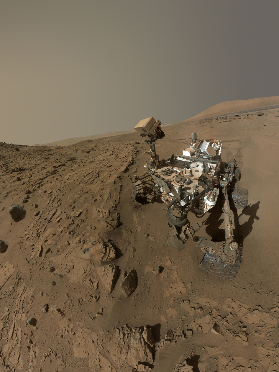 """Curiosity takes a """"selfie"""" made up of dozens of high-res images using its rover arm camera to celebrate its one Martian year on the planet.  Source:  NASA/JPL-Caltech/MSSS"""