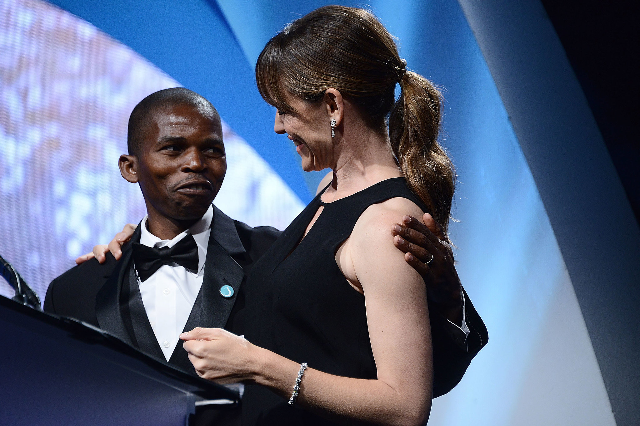 She hit the stage with Sibusiso Shiba, a man from Swaziland who talked about how the Thirst Project helped his community.