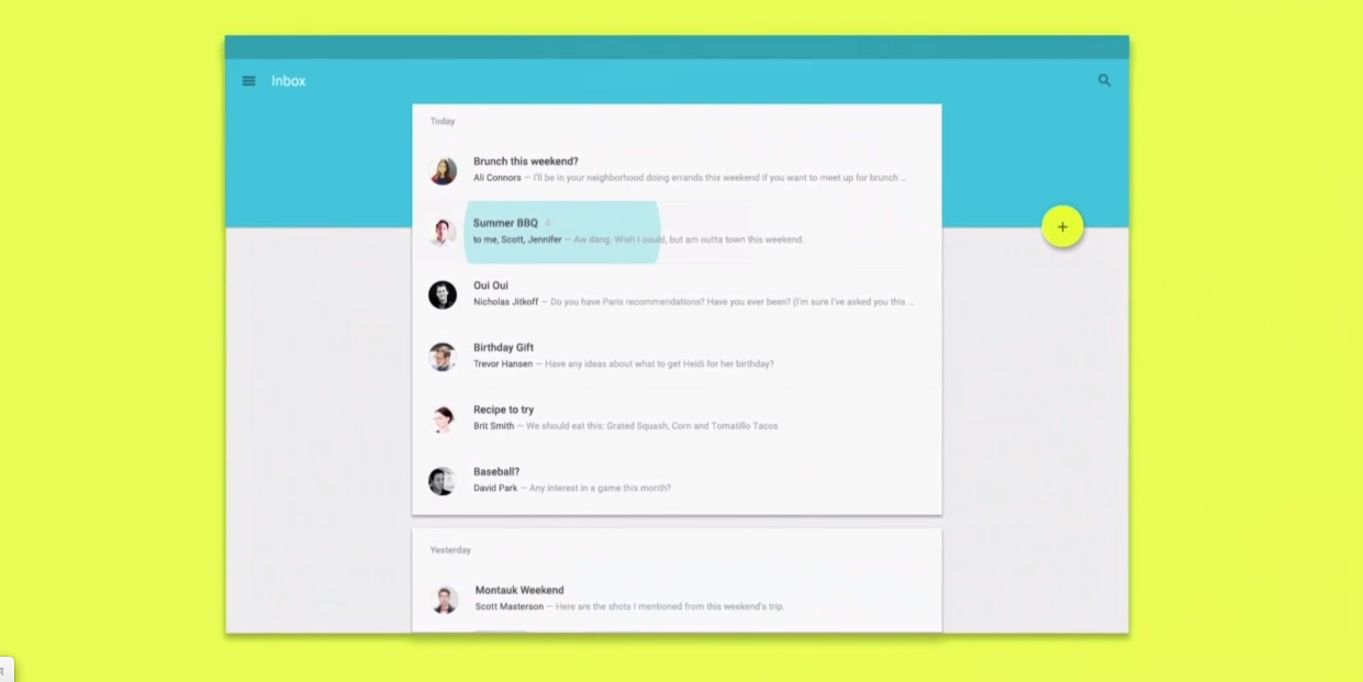 Viewing email in Android L on tablets.