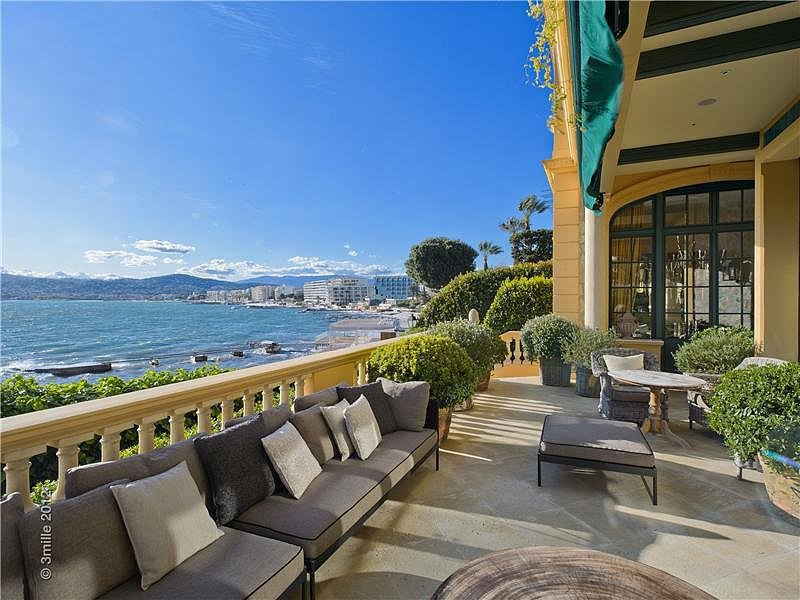 This waterfront home in the French Riviera was once owned by F. Scott Fitzgerald and features beautiful views of the coast. Source: Sotheby's