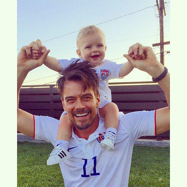 Josh Duhamel cheered on Team USA with his baby boy, Axl. Source: Instagram user joshduhamel