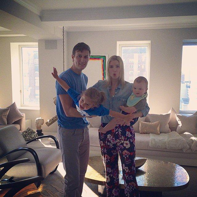 Ivanka Trump and Jared Kushner goofed around with Arabella and Joseph before Arabella's first day of Summer camp. Source: Instagram user ivankatrump