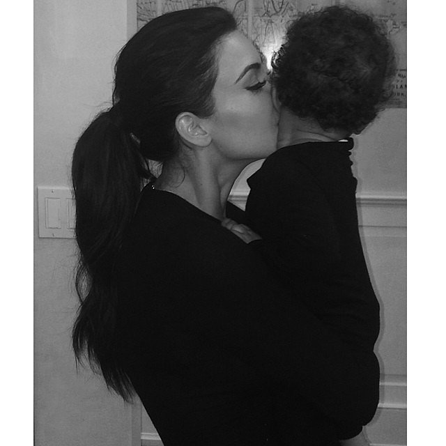 Kim Kardashian planted a kiss on little North West. Source: Instagram user kimkardashian