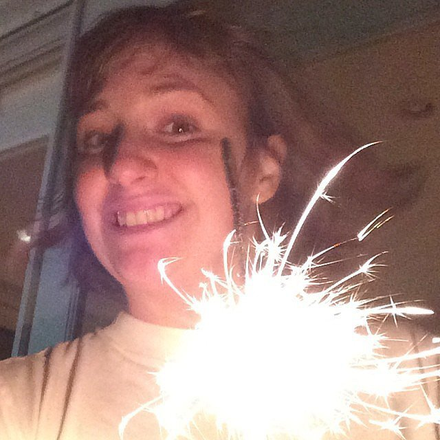 Lena Dunham played with sparklers. Source: Instagram user lenadunham