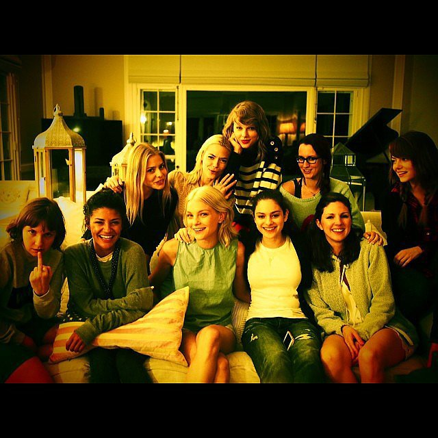 "Taylor, Emma, Lena, Jaime, and Jessica were among the pals who gathered for a ladies-only ""family portrait."" Source: Instagram user taylorswift"