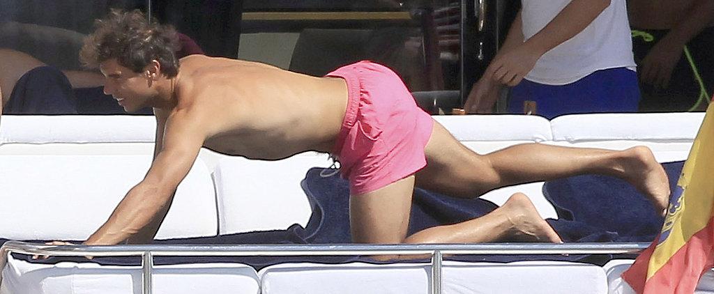 Shirtless Rafael Nadal Doesn't Seem Too Upset by His Wimbledon Loss