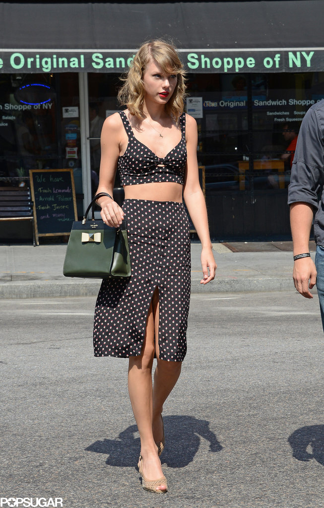 Taylor Swift bared her midriff in NYC on Monday.