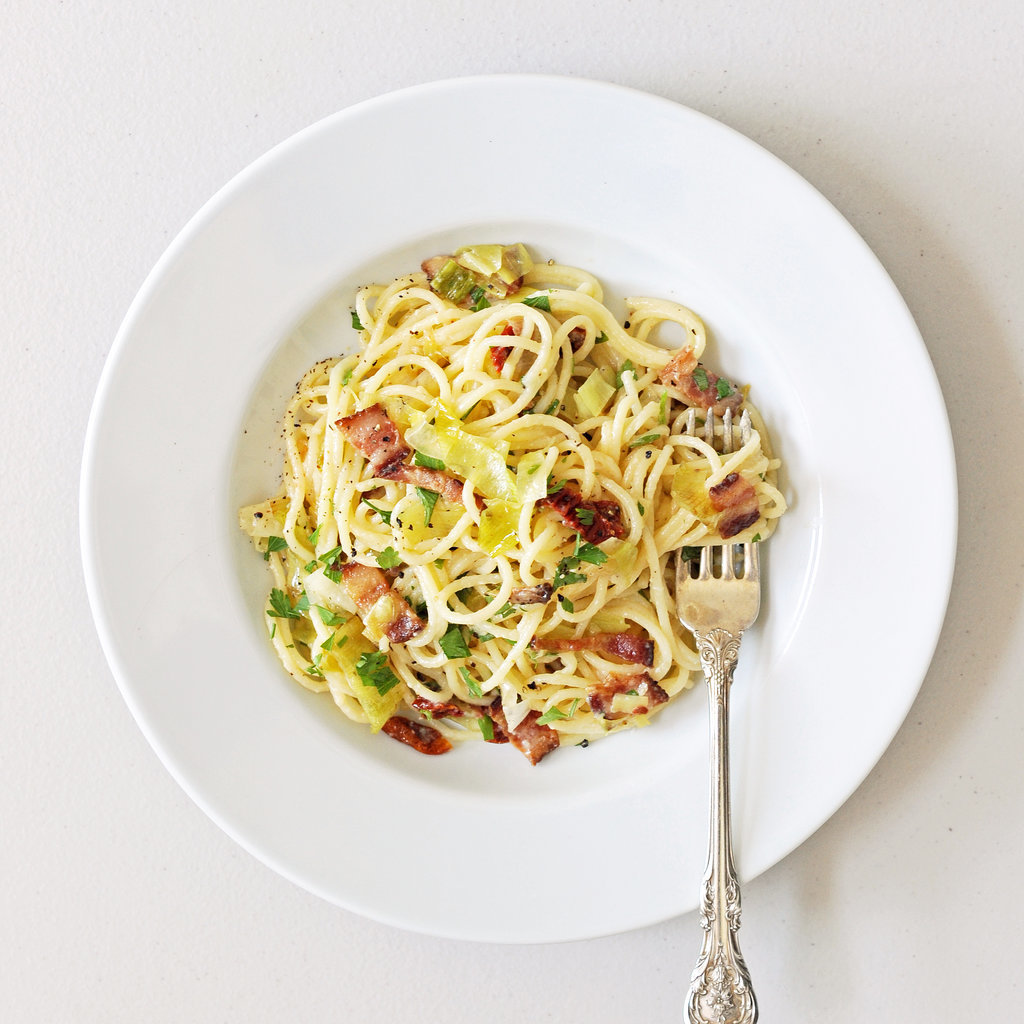 Pasta Carbonara With Leeks and Sun-Dried Tomatoes | POPSUGAR Food