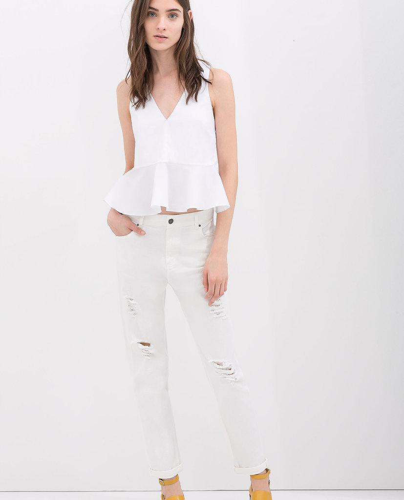 Zara Ripped White Jeans