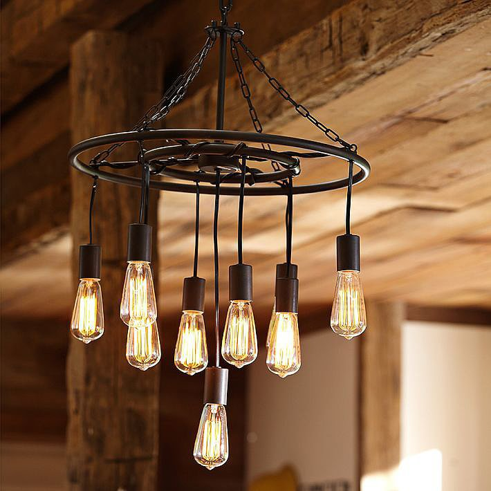 Who says all chandeliers have to be dainty? Edison bulbs lend a speakeasy vibe to this Finn Pendant ($199).