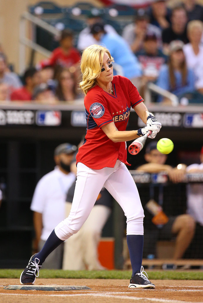 January Jones stepped up to the plate at a celebrity softball game in Minneapolis on Sunday.