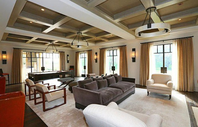 A look at the living room's beamed ceiling.  Source: Trulia