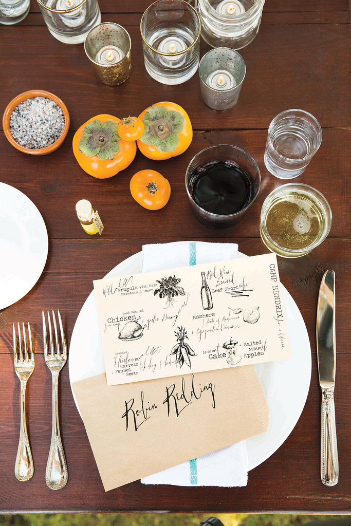 Paper-bag place cards and hand-drawn menus