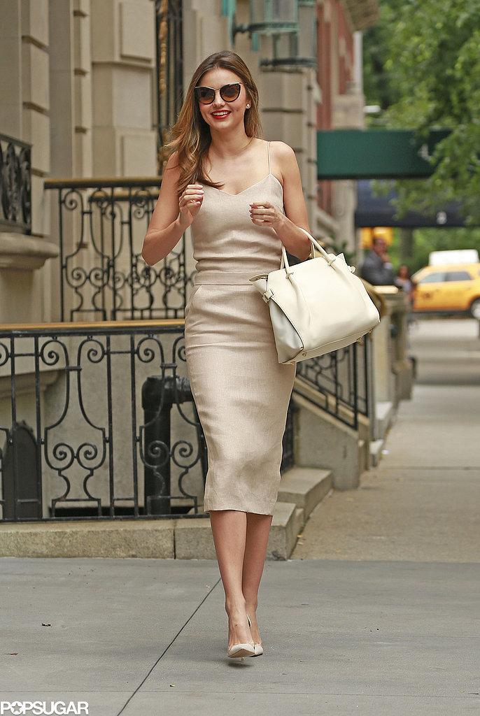 Miranda Kerr smiled in NYC on Wednesday.