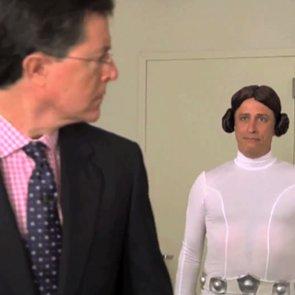 Jon Stewart and Stephen Colbert Lightsaber Battle
