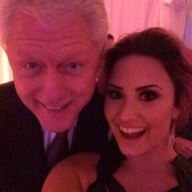 """Demi Lovato looked starstruck when she posed for a snap with former President Bill Clinton at the Unite4:Humanity Gala in February 2014. """"Too excited to filter this... NO BIG DEAL - #Selfieswiththeprez.... Bill Clinton - so nice to meet you!!!!"""" she wrote in the caption."""
