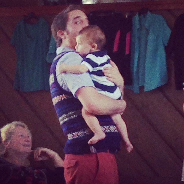 Platt held a baby on set. Source: Instagram user pitchperfectmovie