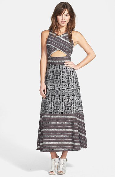 Free People Tribal Cutout Midi Dress
