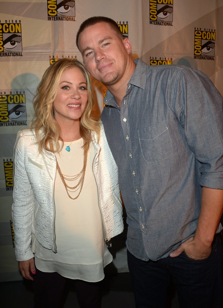 On Friday, Christina Applegate and Channing Tatum leaned in close for a snap at the 20th Century Fox presentation, where they promoted their movie, Book of Life.