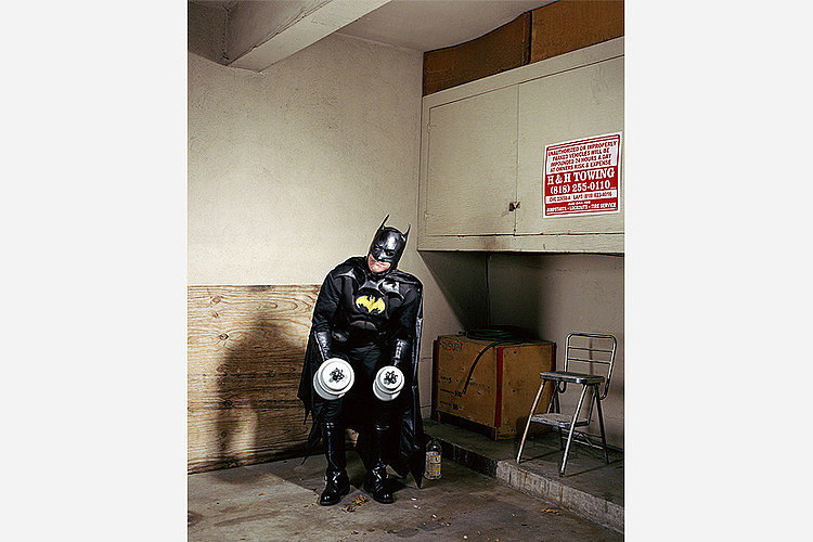 """Batman Working Out in Garage,"" Gregg Segal"